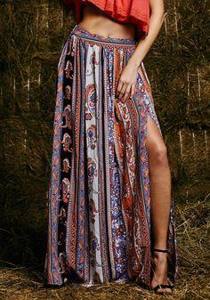 Tribal Side Slit Maxi Skirt//