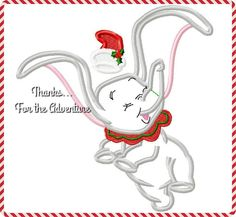 Christmas Santa Dumbo Flying Baby Elephant Digital Embroidery Machine Applique Design File 5x7 6x10 by Thanks4TheAdventure on Etsy