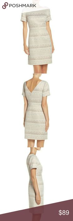 "❤ Vince Camuto  Jacquard Sheath Dress Size 10 Geometric patterns run across this pocketed sheath knit with a metallic sheen to bring out the figure-flattering texture.  - 36"" length - Back zip closure  - Bateau neck  - Short sleeves  - Side-seam pockets  - V-back  - Lined  - 49% cotton, 39% polyester, 12% metallic fibers  - Dry clean - TTS - Color Ivory - MSRP $168  Remember to bundle up and save more, so check my closet for more treasure finds. Vince Camuto Dresses"