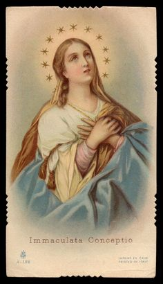 IMMACULATE CONCEPTION Vtg w/ GOLD HOLY CARD