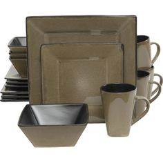 Features:  -Dishwasher and microwave safe.  -Lead free: Yes.  Style (Old): -Modern.  Material: -Stoneware.  Number of Items Included: -16.  Set Includes: -4 Dinner plates, 4 dessert plates, 4  bowls a