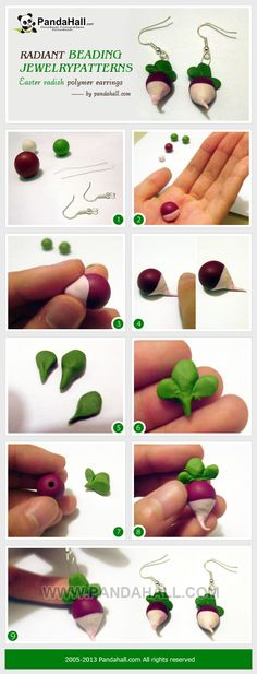 3 simple steps to realize the distinct beading jewelry patterns; they are very cute Easter radish polymer clay earrings knockoffs from movie Harry potter.
