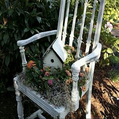 Old wooden chair with chicken wire in seat...can paint.then flowers planted in seat....