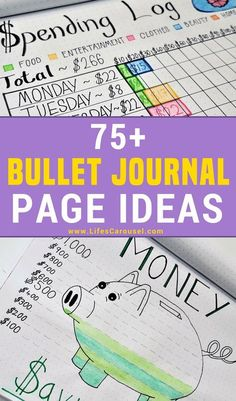 75+ Bullet Journal Page Ideas   Bullet Journal Ideas. Pages, spreads, layouts and tracker ideas. BIG list of all your page ideas. Perfect for when you are starting a bullet journal!