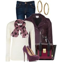 "Purple Plum, Red, White, Gold Jeans Outfit ""Pumps and Jeans - OUTFIT ONLY"" by melissa-chung-pnklmnade on Polyvore"