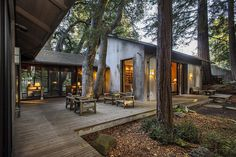 The main home, built in 1958, has three bedrooms and 3½ bathrooms, and there are additional guest quarters. Included on the property is a grove of redwood trees with a clearing for camping.