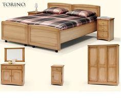 Deelbaar ledikant eiken,Torino,blank patine,commode,nachtkast,drie deurs schuifdeurkast,168 cm. breed,212 hoog,65 cm. diep, meubelfabriek de linde