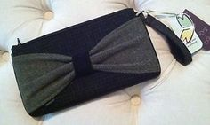 Baabaazuzu Women's Upcycled Wool Wristlet Purse Clutch Black Tweed New with Tags   eBay