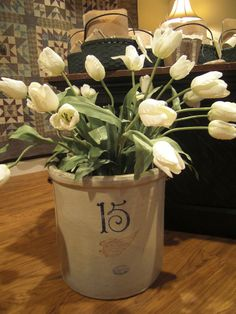 white tulips in Red Wing crock