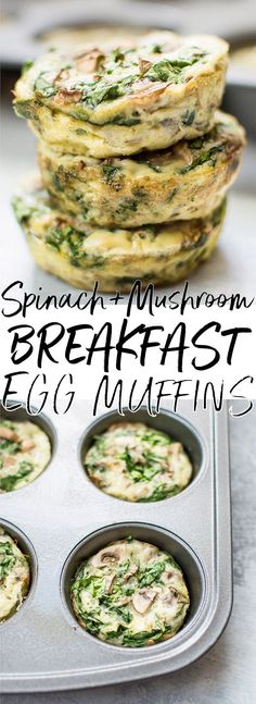 These spinach and mushroom low-carb breakfast egg muffins are the perfect make-ahead breakfast recipe! Only 40 calories each. #eggmuffincups #eggmuffins #lowcarbbreakfast