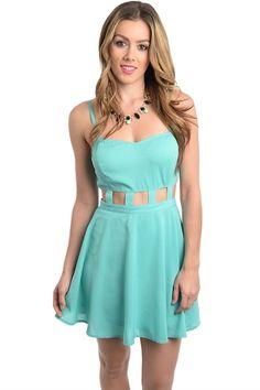 171cfed976 2LUV Women s Spaghetti Strap Dress with Cutout Waistline Light Blue M  (D622911)
