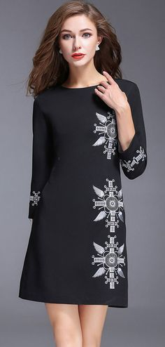 Vintage Embroidered Long Sleeve Bodycon Dress