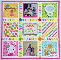 Doodlebug DT layout using Easter Parade, washi tape, and buttons