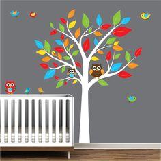 Children Nursery Wall Decal Stickers Owl and Birds Tree Nursery baby decals. $99.00, via Etsy.