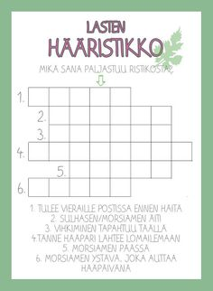 Projektina häät lasten ristikko Wedding Activities, Wedding Games, Wedding Humor, Wedding With Kids, Our Wedding, Dream Wedding, Party Planning, Wedding Planning, Rockabilly Wedding