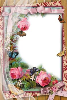 Transparent Frame with Flowers and ButterfliesBy Maria Elena Lopez Framed Wallpaper, Flower Wallpaper, Rose Frame, Flower Frame, Frame Background, Paper Background, Decoupage Vintage, Vintage Paper, Boarders And Frames