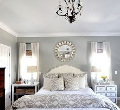 Grey and white bedroom. With my black Furniture!