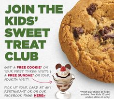 BOB EVANS $$ Join The Kids' Sweet Treat Club & Get a FREE Cookie + More!