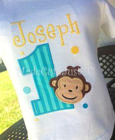Boys Mod Monkey Personalized Birthday Number by madecutejust4u, $17.00