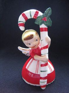 Vintage 1956 Napco Christmas Candy Cane Angel Bell | eBay