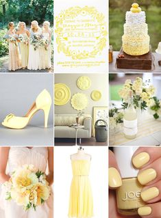 Lemon yellow wedding inspiration board.