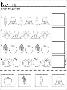 Free Thanksgiving Patterns Cut and Paste This is a free Thanksgiving pattern worksheet for Kindergarten or Pre-K math for practicing ABA patterns. Students cut, paste, and color the Thanksgiving pictures to practice their fine motor skills and pattern rec Thanksgiving Worksheets, Thanksgiving Preschool, Fall Preschool, Preschool Classroom, Preschool Activities, Thanksgiving Writing, Thanksgiving Quotes, Thanksgiving Appetizers, Thanksgiving Outfit