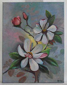 Vintage Original Painting Magnolia Flowers Southern Botanical Still Life Depires