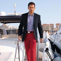 Blue blazer, striped shirt, red chinos from the yacht to.....