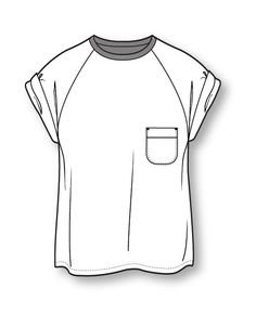 Jersey-Slub-T-Shirt. Fashion Illustration Sketches, Illustration Mode, Fashion Design Sketches, T Shirt Sketch, Shirt Drawing, Fashion Design Template, Fashion Templates, Kleidung Design, Clothing Sketches