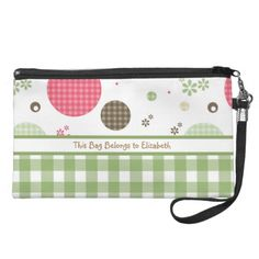 Trendy Cute Gingham Polka Dots With Name Wristlet Clutch $49.95 #ohsogirly #fashionaccessories #giftsforher #bags