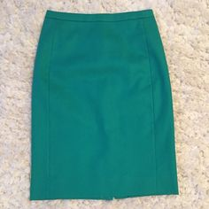 J Crew Green Pencil Skirt - Size 00 Kelly green J Crew pencil skirt. NEW WITHOUT TAGS. I took the tags off like an idiot, thinking I would eventually get this altered to fit me better (it's a bit big on my waist--keep in mind I like pencil skirts on my natural waist--I can wear this, but it's pulled down a little too far for me) but I never got around to it.  100% Polyester. My loss is your gain! ❌NO TRADES. NO PAYPAL.❌ J. Crew Skirts Pencil