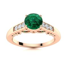 """This Emerald ring in 14k Rose Gold is perfect for that special someone to say """"I love you"""" or a lovely addition to your vintage inspired jewelry collection. The center stone is placed amidst three side gem stone on a filigree designed band. Natural Emerald Rings, Filigree Design, Love Ring, Vintage Rings, Ring Designs, Jewelry Collection, Vintage Inspired, Heart Ring, White Gold"""