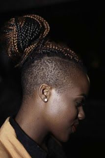 Sophy Aiida shows off her half-shaven hairstyle complete with a high, two-toned braided bun at an offsite fashion show. Natural Hair Inspiration, Natural Hair Tips, Natural Hair Styles, Short Hair Styles, Undercut Hairstyles, Pretty Hairstyles, Braided Hairstyles, Side Hairstyles, Unique Hairstyles