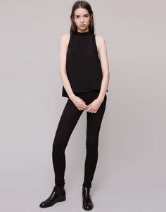 Pull&Bear - mujer - blusas y camisas - blusa top espalda cruzada - negro - 09471364-I2015