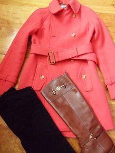 coral trench coat  OOTD; Coat: J.Crew Boulevard ...
