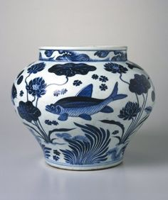 Wine Jar with Fish and Aquatic Plants | Porcelain with underglaze cobalt blue decoration | China | Dates: 1279-1368  | Yuan Dynasty | Brooklyn Museum: Asian Art