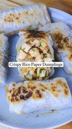Dairy Free Recipes, Vegetarian Recipes, Cooking Recipes, Healthy Recipes, Good Food, Yummy Food, Rice Paper, Dumplings, Fresh Rolls
