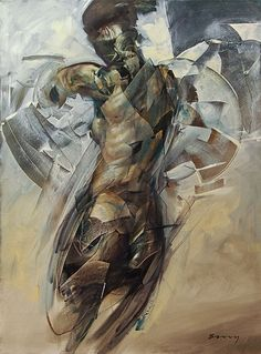 """""""Prototype A"""" - Rick Berry {contemporary #expressionist artist figurative discreet nude female human body woman posterior back texture grunge painting #noveltechnique} rickberrystudio.com"""