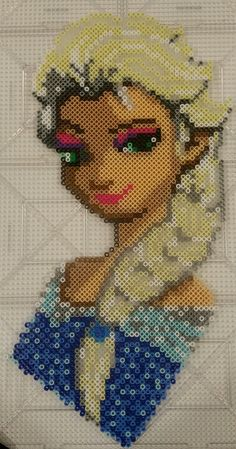 Elsa Frozen perler beads by Frank Guidry