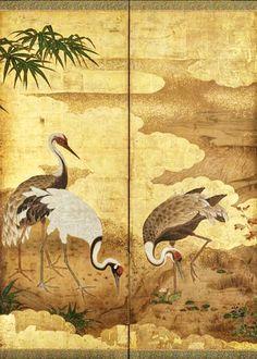 Detail. Cranes. 郡鶴図屏風 Japanese folding screen. One of a pair. Edo period. latter half of the 17th century. Kano Einô (Japanese, 1631–1697). MFA Boston.