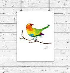 Bird on a Branch, Small Bird Watercolor Print, 8x10 Archival Fine Art Print, Gift, Wall Decor, Home Decor, Housewares