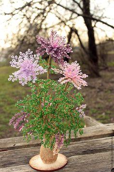 цветы из бисера Рассвет - розовый,цветы из бисера,цветы,букет цветов,букет из бисера