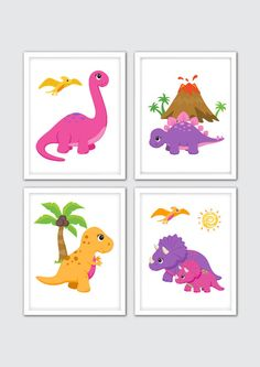 Dinosaur Nursery Art Dinosaur Room Decor Girls Dinosaur