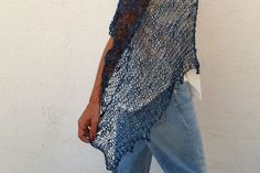 Ethereal blue knitting. Summer hand knit top EstherTg