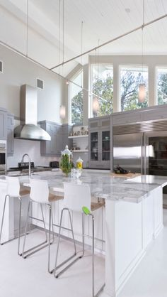 idea, contemporary kitchens, high ceilings, contemporari kitchen, homes, modern kitchens, kitchen islands, kitchen designs, white kitchens