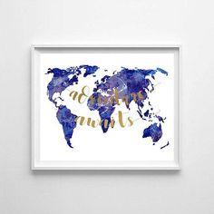 World map watercolor world map world map printable
