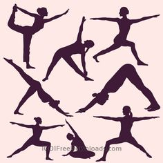 Free Vectors: Yoga poses silhouettes | People