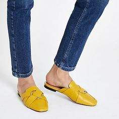 2fcdaad8f5a Womens Yellow ring backless loafer