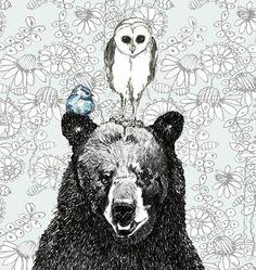 Large Art Print - Three's A Crowd - Bear Owl and Blue Bird Drawing. $34.00, via Etsy.