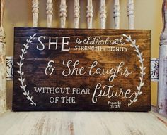She is clothed... is from my Inspire Collection. This wood sign measures 12 X 7 1/4 stained in dark walnut finish with white hand painted